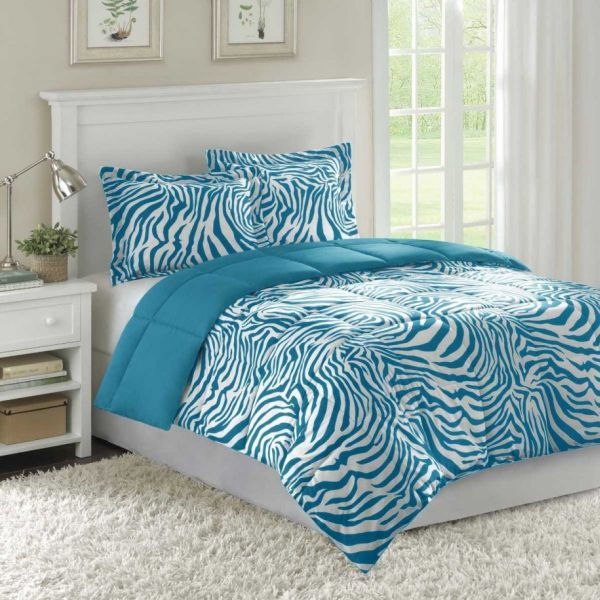 Zebra blue additions add playfulness to the bedroom