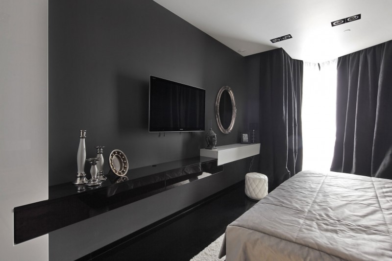 Project begovaya stunningly stylish interiors in striking Black and white bedroom decor