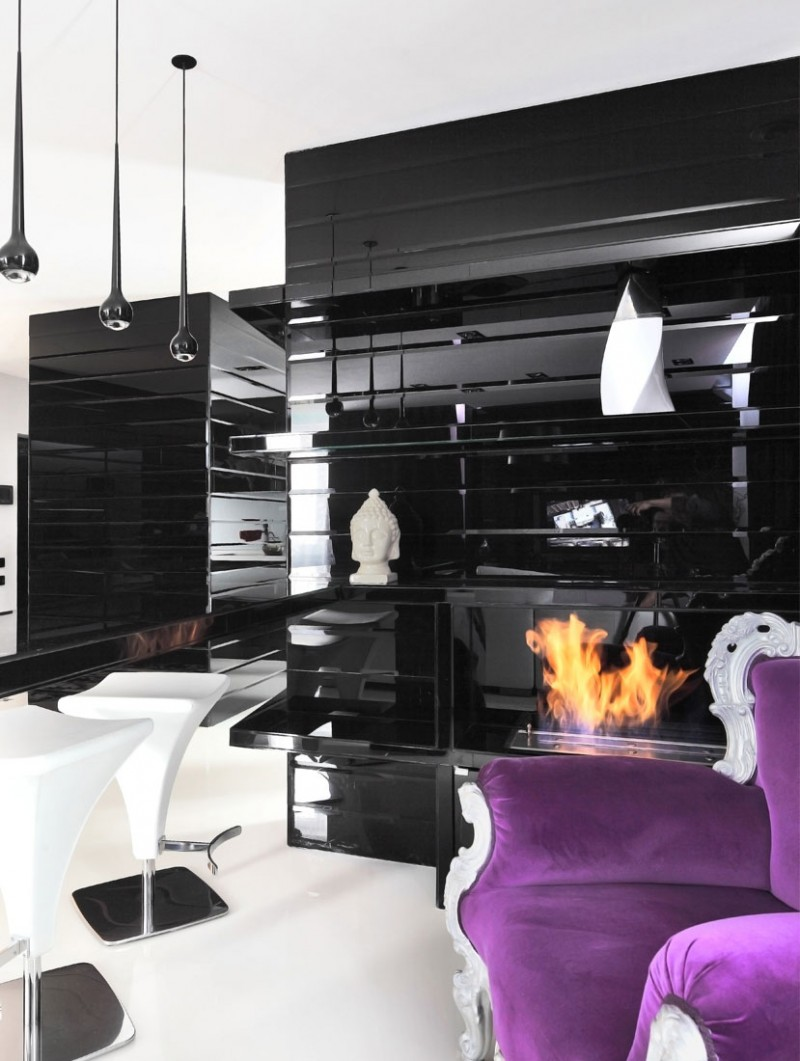 black and white decor with a purple accent
