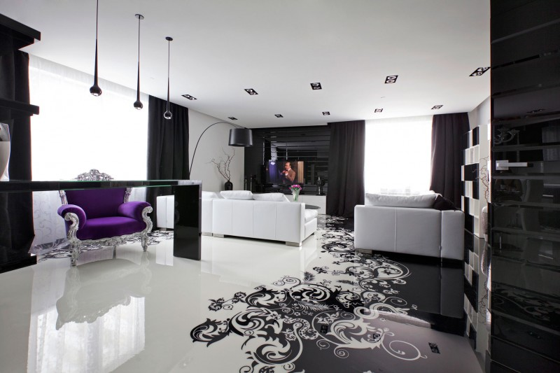 black and white living room Project Begovaya: Stunningly Stylish Interiors In Striking Black And White!