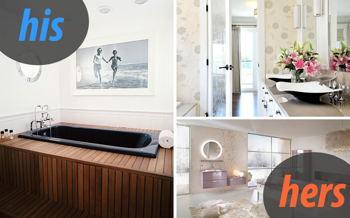 his hers bathroom Masculine and Feminine Bathrooms: His and Hers Powder Rooms
