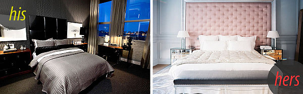 his hers bedrooms His and Hers: Feminine and Masculine Bedrooms That Make a Stylish Statement