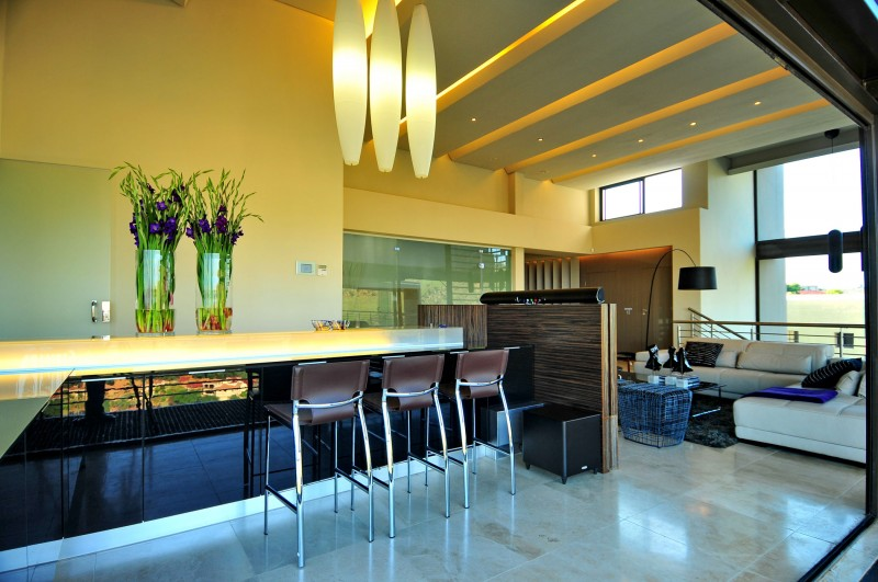 living room with bar stools