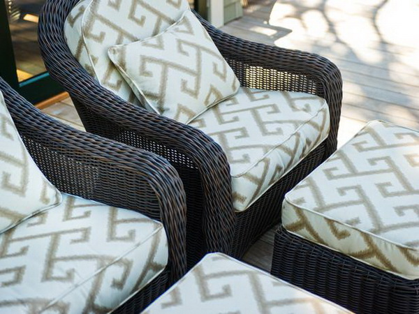 patio furniture on the outside deck