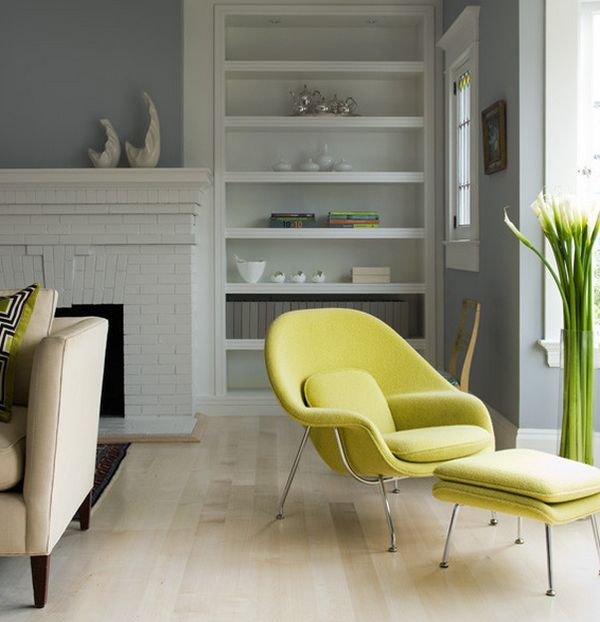 Add gentle green accents with the womb chair in yellow-green