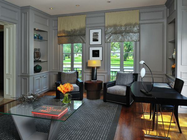 Adding gray to home office brings class and sophistication!