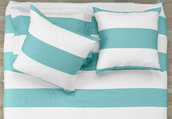 Aqua and white striped bedding