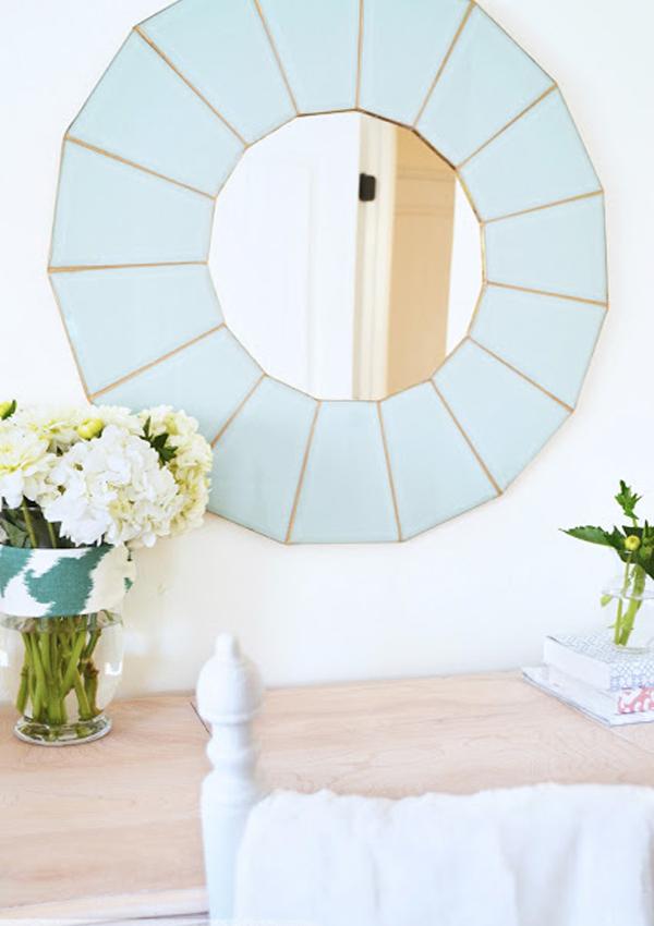 Aqua blue mirror frame from vintage chandelier