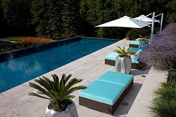 Aqua blue outdoor patio cushions