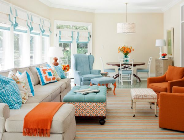 Aqua, turquoise and coral come together with surprising and elegant ease!