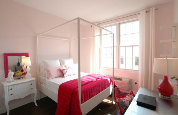 View In Gallery Beautiful Bedroom In Light Pink Accentuated By Fabric And  Decor In Hot Fuchsia