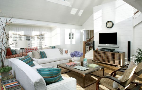 Beautiful modern interiors in white with vibrant turquoise accents