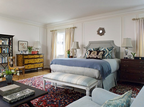 Bedroom rug that anchors the space