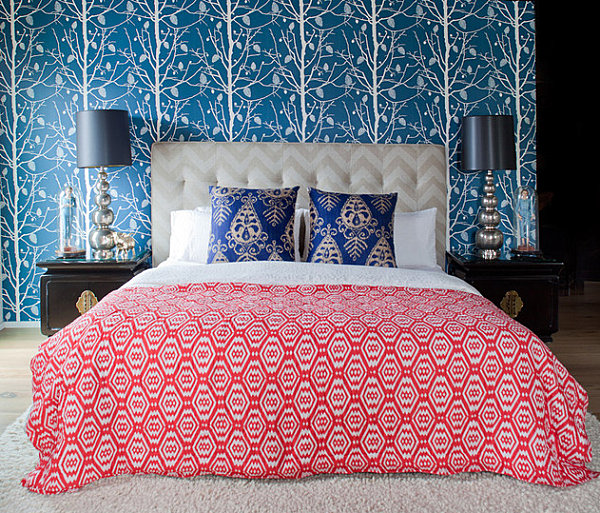 Bedroom with multiple patterns
