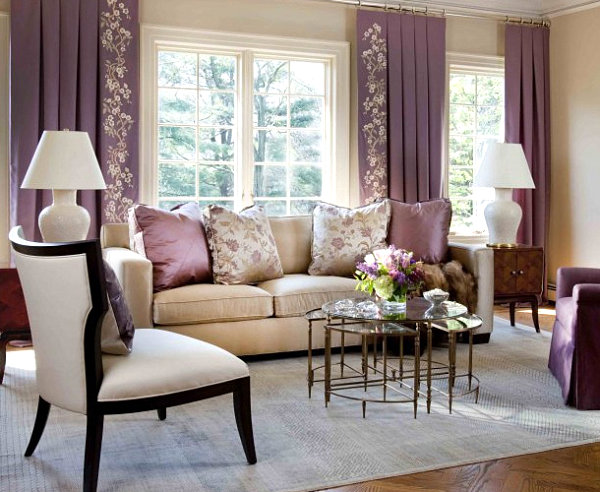 Beige and purple living space