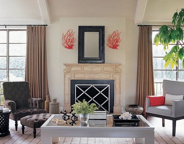 Beige and red in a bold living room