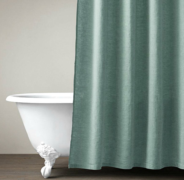 View In Gallery Belgian Linen Shower Curtain