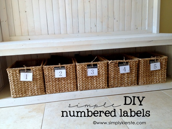 Bench storage with numbered baskets