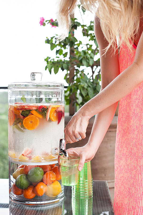 Beverage jar filled with fruit-infused water