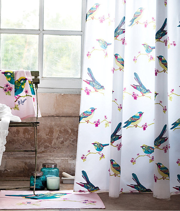 View In Gallery Bird Motif Shower Curtain