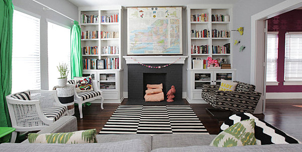 Black and white stripes in an eclectic living room