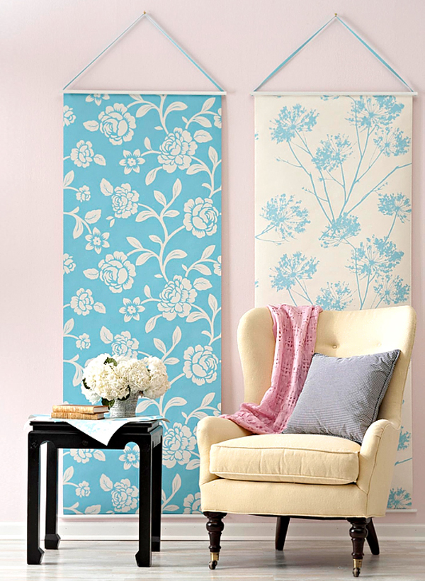 Blue and white floral wallpaper panels Creative DIY Wallpaper for a Special Touch