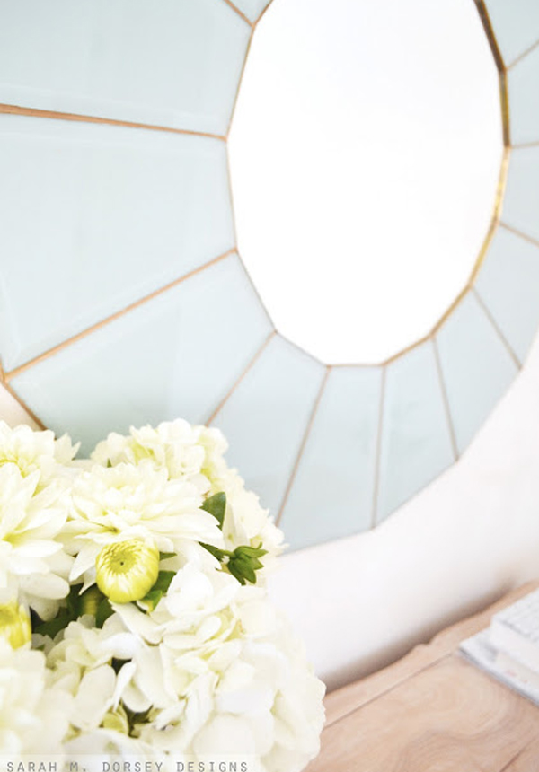 Blue glass mirror frame from vintage chandelier