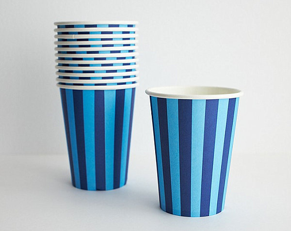 Blue striped paper party cups