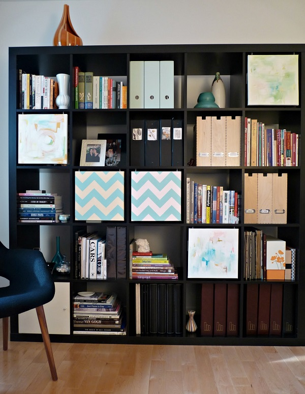 Bookshelf storage with canvas covers