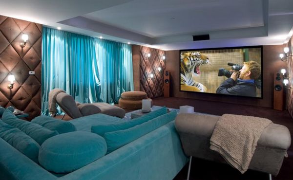 Chocolate and turquoise come together to create a fabulous home theater