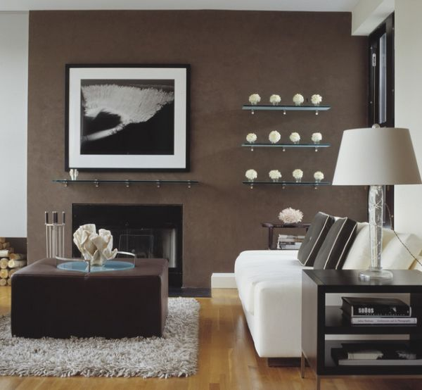 Chocolate and vanilla living space with single large photograph