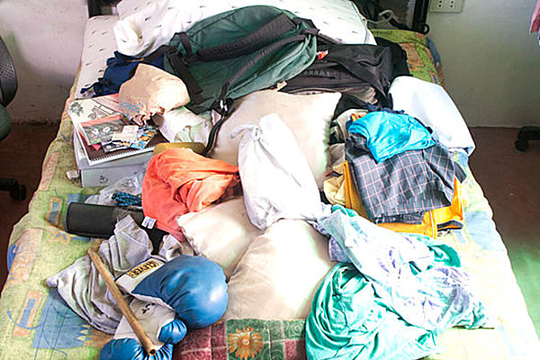 Clutter on a bed