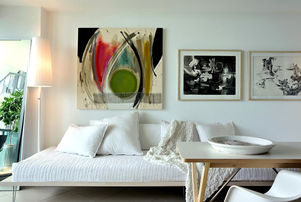 View in gallery colorful artwork meets black and white