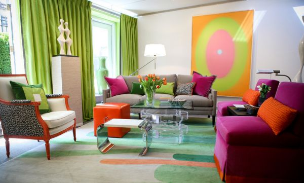 Colorful contemporary living space in lime green, fuchsia and orange