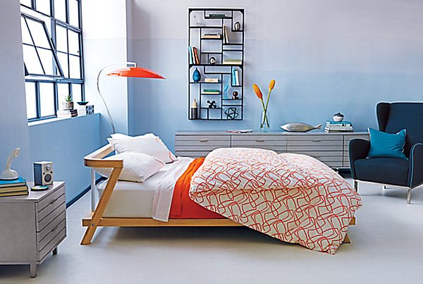 Colorful orange and white bedding