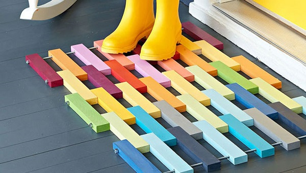 Colorful painted slates welcome mat