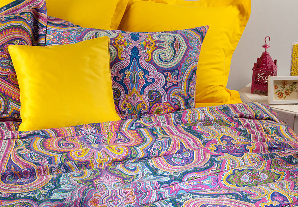 Colorful paisley bedding