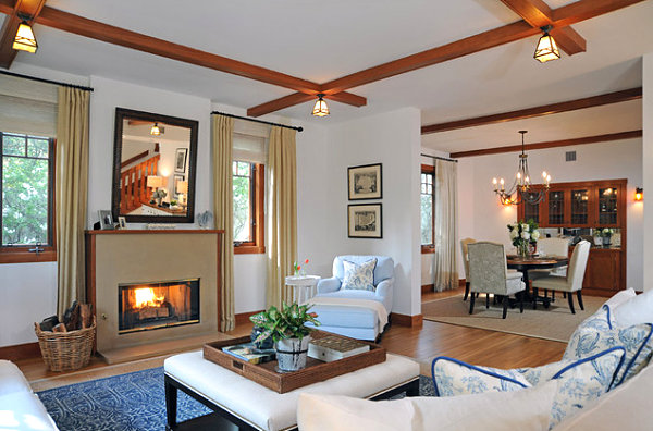 Contemporary Craftsman-style living room