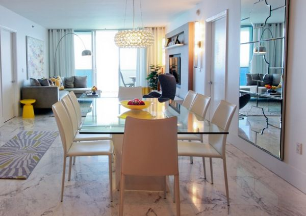 Contemporary dining room with Arco in the corner