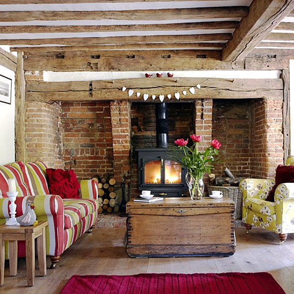 Country home decor with contemporary flair for Rustic living room interior design