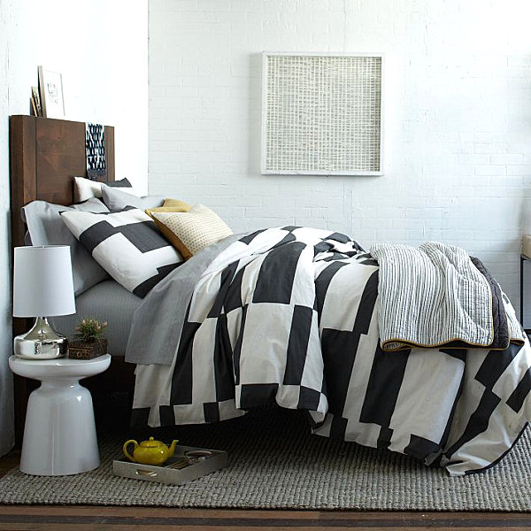 Crisp striped bedding