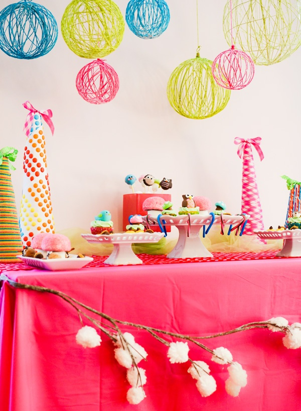 DIY bright yarn chandeliers made with balloons