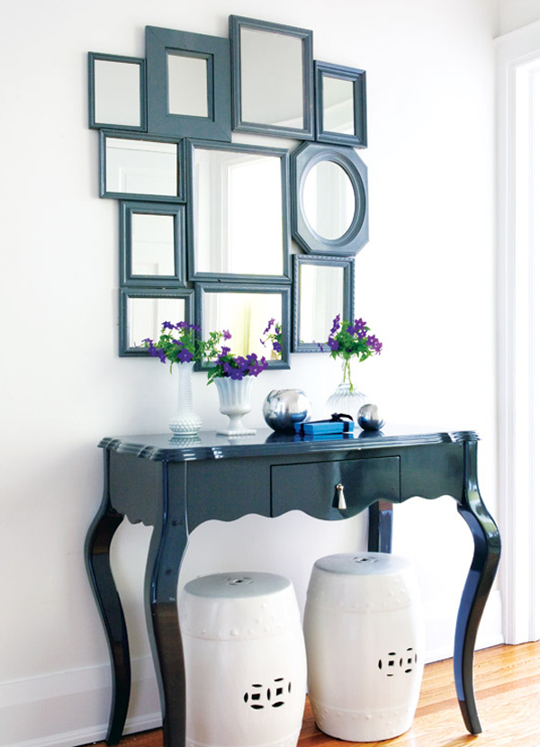 DIY mismatched mirror gallery with black frames