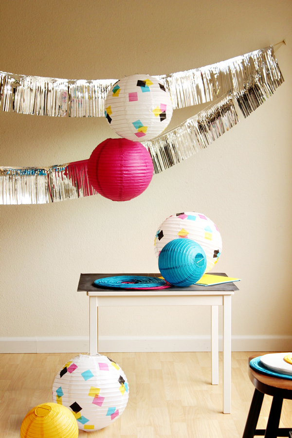 DIY paper lantern with confetti design