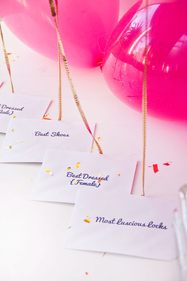 DIY pink balloon awards for guests