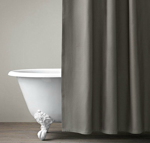 Gray Shower Curtain Diamond-stitched gray shower