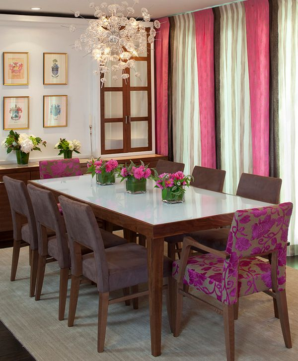 Drapes and flowers bring in touches of fuchsia with natural charm