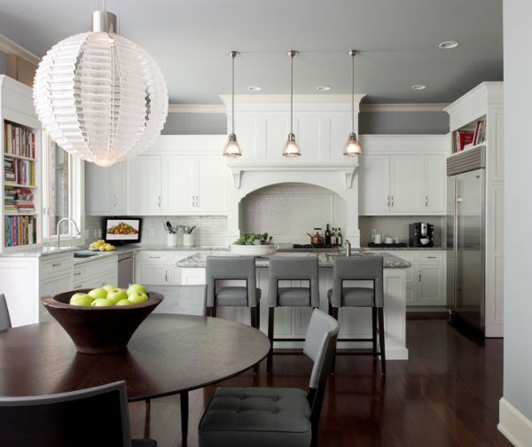 Elegant use of gray in the kitchen and dining area