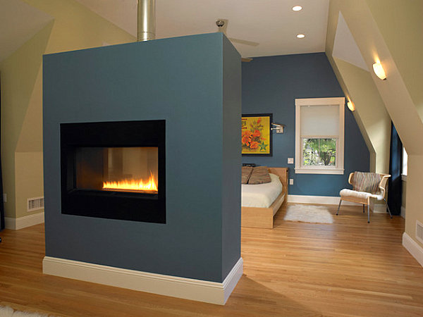 Fireplace in a colorful bedroom
