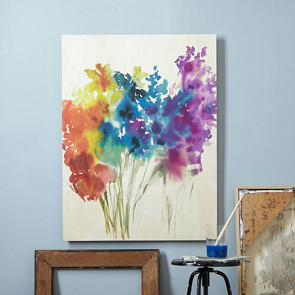 Floral watercolor in rainbow colors